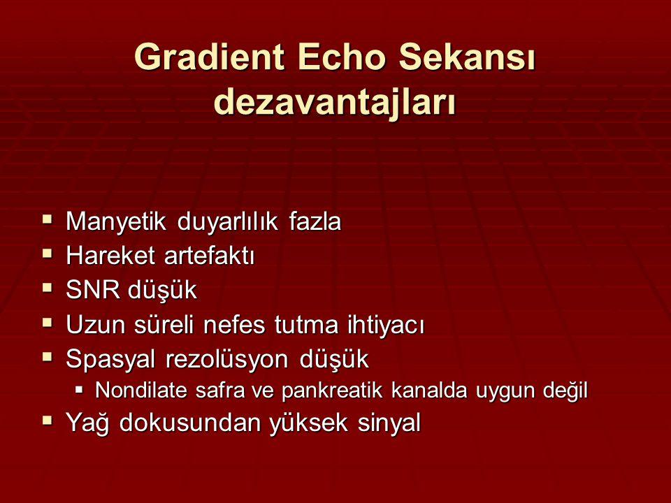 Gradient Echo Sekansı dezavantajları  Manyetik duyarlılık fazla  Hareket artefaktı  SNR düşük  Uzun süreli nefes tutma ihtiyacı  Spasyal rezolüsyon düşük  Nondilate safra ve pankreatik kanalda uygun değil  Yağ dokusundan yüksek sinyal