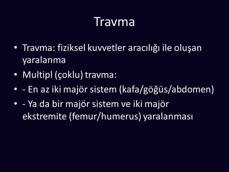 Travma Travma: fiziksel kuvvetler aracılığı ile oluşan yaralanma Multipl (çoklu) travma: - En az iki majör sistem (kafa/göğüs/abdomen) - Ya da bir majör sistem ve iki majör ekstremite (femur/humerus) yaralanması