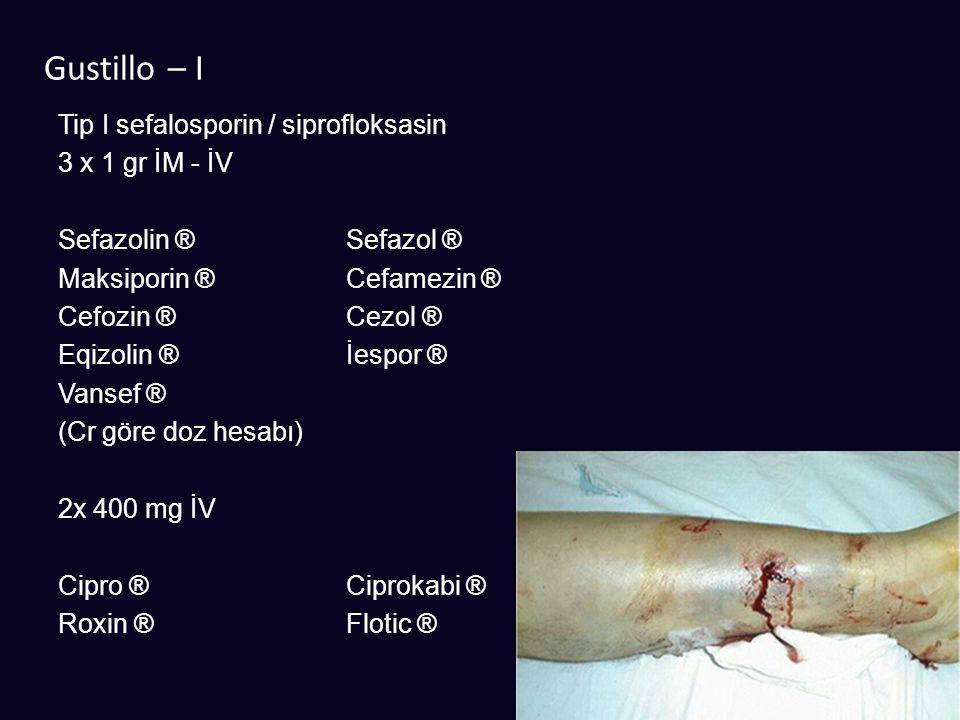 Gustillo – I Tip I sefalosporin / siprofloksasin 3 x 1 gr İM - İV Sefazolin ®Sefazol ® Maksiporin ®Cefamezin ® Cefozin ®Cezol ® Eqizolin ®İespor ® Van
