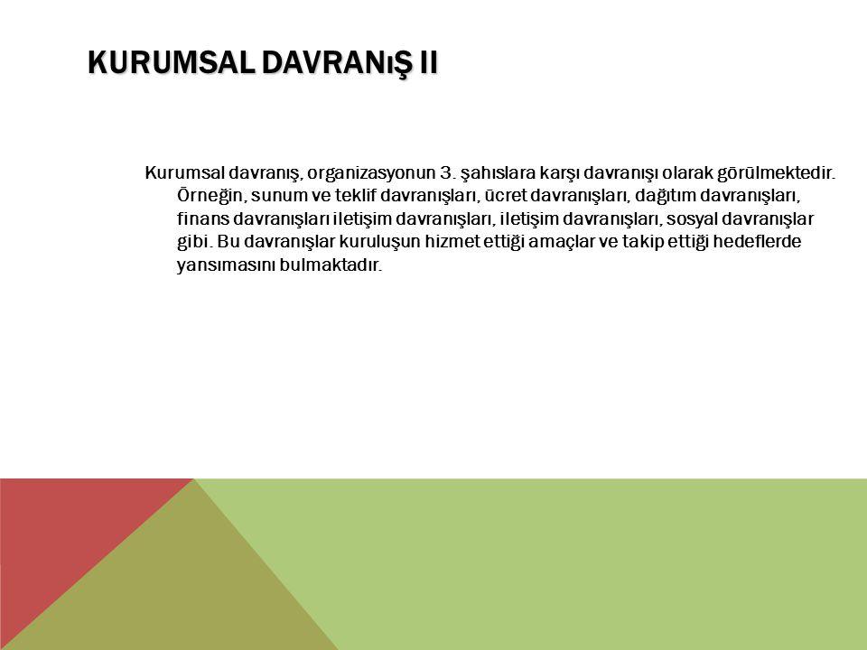 KURUMSAL DAVRANıŞ II Kurumsal davranış, organizasyonun 3. şahıslara karşı davranışı olarak görülmektedir. Örneğin, sunum ve teklif davranışları, ücret