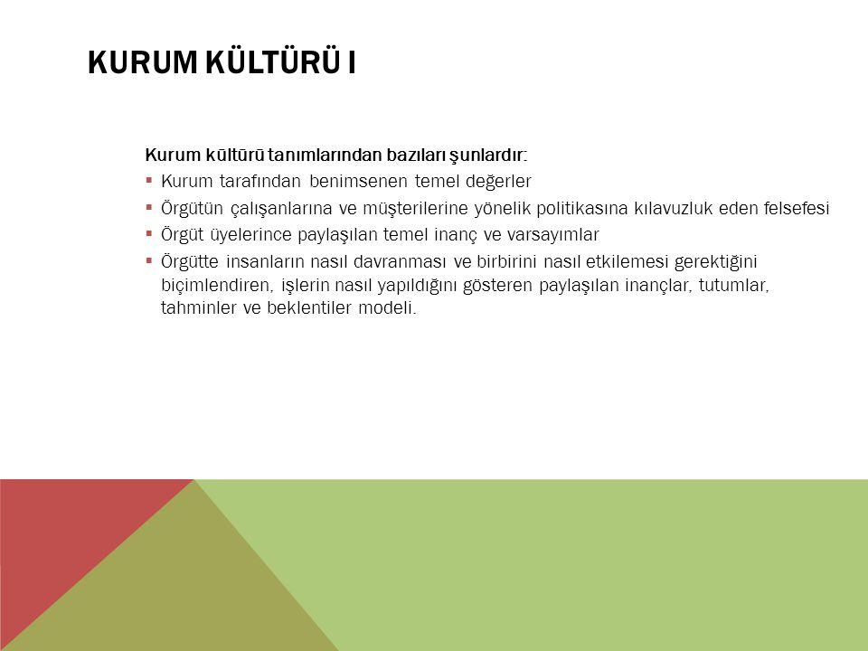 KURUM KÜLTÜRÜ I Kurum kültürü tanımlarından bazıları şunlardır:  Kurum tarafından benimsenen temel değerler  Örgütün çalışanlarına ve müşterilerine