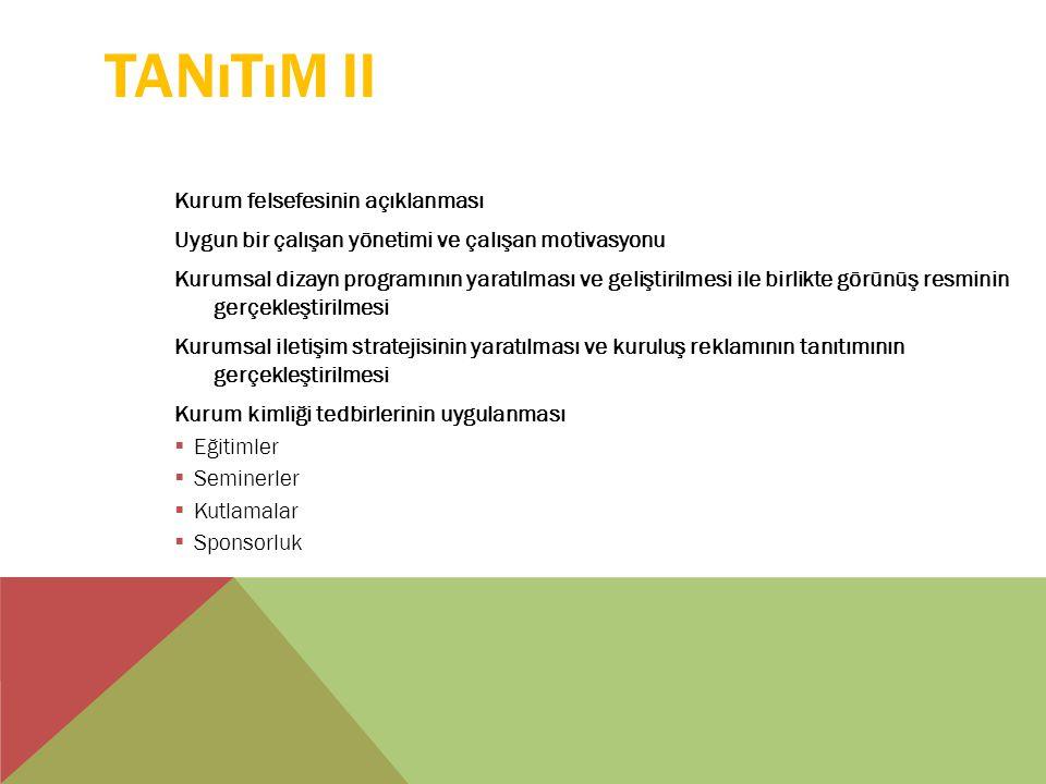 TANıTıM II Kurum felsefesinin açıklanması Uygun bir çalışan yönetimi ve çalışan motivasyonu Kurumsal dizayn programının yaratılması ve geliştirilmesi