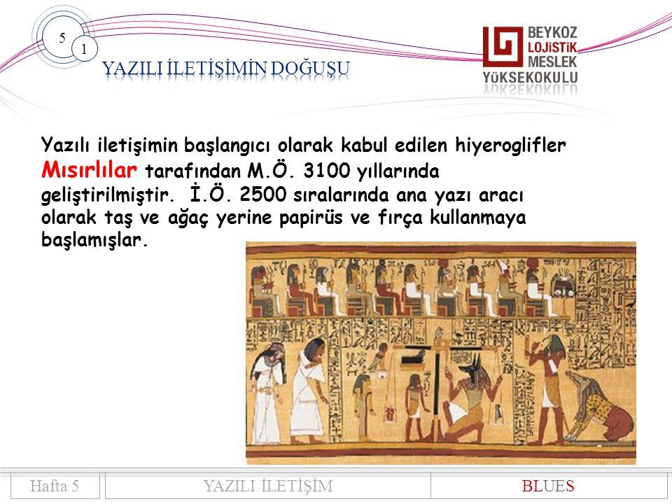 5 1 Hafta 5YAZILI İLETİŞİMBLUES Yazılı iletişimin başlangıcı olarak kabul edilen hiyeroglifler Mısırlılar tarafından M.Ö.