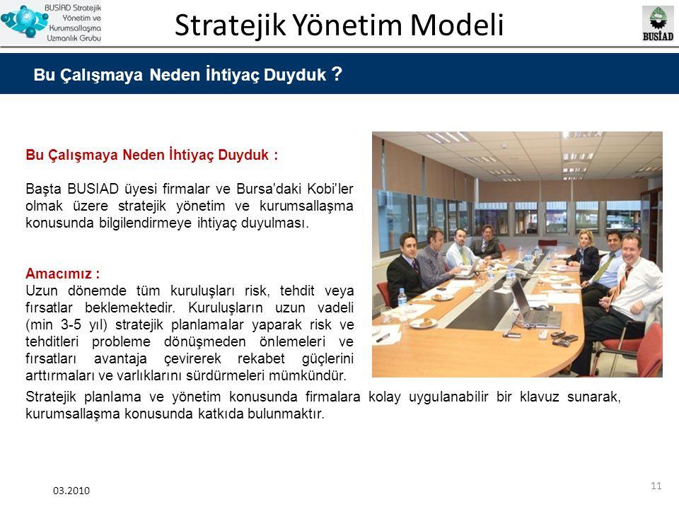 Stratejik Yönetim Modeli 03.2010 11 Bu Çalışmaya Neden İhtiyaç Duyduk ? Bu Çalışmaya Neden İhtiyaç Duyduk : Başta BUSIAD üyesi firmalar ve Bursa'daki