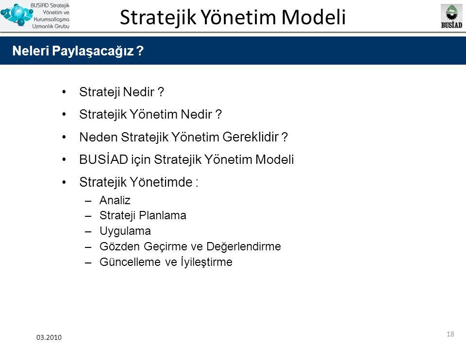 Stratejik Yönetim Modeli 03.2010 18 Strateji Nedir ? Stratejik Yönetim Nedir ? Neden Stratejik Yönetim Gereklidir ? BUSİAD için Stratejik Yönetim Mode