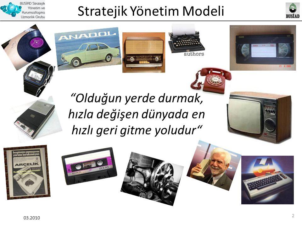 Stratejik Yönetim Modeli 03.2010 33 Vizyon Örnekleri Şirketi Japon ürünlerinin dünya genelindeki kalitesizlik imajını değiştirmekle tanınır hale getirmek.