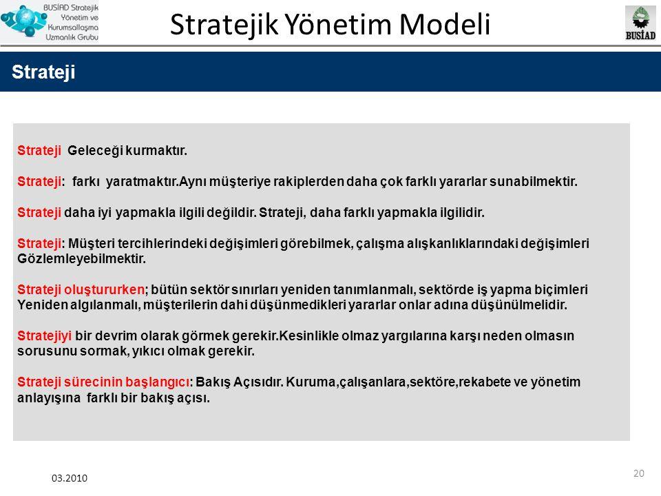 Stratejik Yönetim Modeli 03.2010 20 Strateji Strateji Geleceği kurmaktır. Strateji: farkı yaratmaktır.Aynı müşteriye rakiplerden daha çok farklı yarar