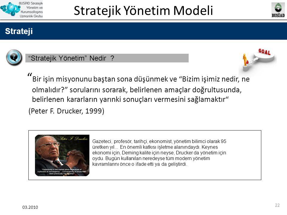 """Stratejik Yönetim Modeli 03.2010 22 Strateji """"Stratejik Yönetim"""" Nedir ? """" Bir işin misyonunu baştan sona düşünmek ve """"Bizim işimiz nedir, ne olmalıdı"""