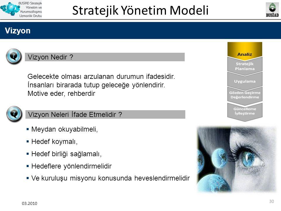 Stratejik Yönetim Modeli 03.2010 30 Vizyon Vizyon Nedir ? Vizyon Neleri İfade Etmelidir ?  Meydan okuyabilmeli,  Hedef koymalı,  Hedef birliği sağl