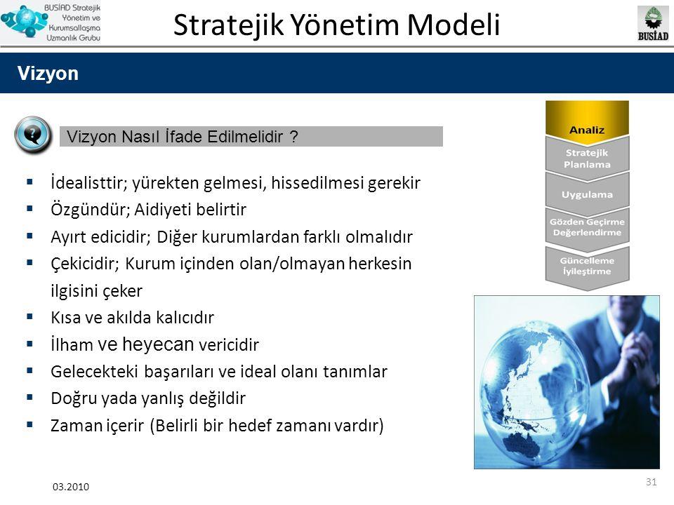 Stratejik Yönetim Modeli 03.2010 31 Vizyon Vizyon Nasıl İfade Edilmelidir ?  İdealisttir; yürekten gelmesi, hissedilmesi gerekir  Özgündür; Aidiyeti