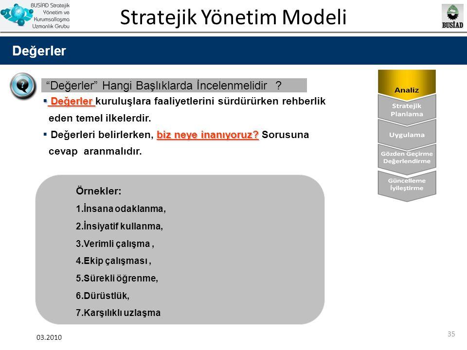 """Stratejik Yönetim Modeli 03.2010 35 Değerler """"Değerler"""" Hangi Başlıklarda İncelenmelidir ?  Değerler  Değerler kuruluşlara faaliyetlerini sürdürürke"""