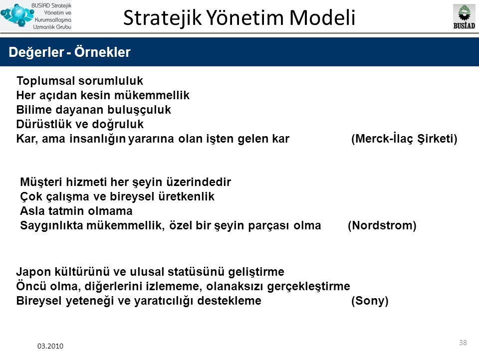 Stratejik Yönetim Modeli 03.2010 38 Değerler - Örnekler Toplumsal sorumluluk Her açıdan kesin mükemmellik Bilime dayanan buluşçuluk Dürüstlük ve doğru