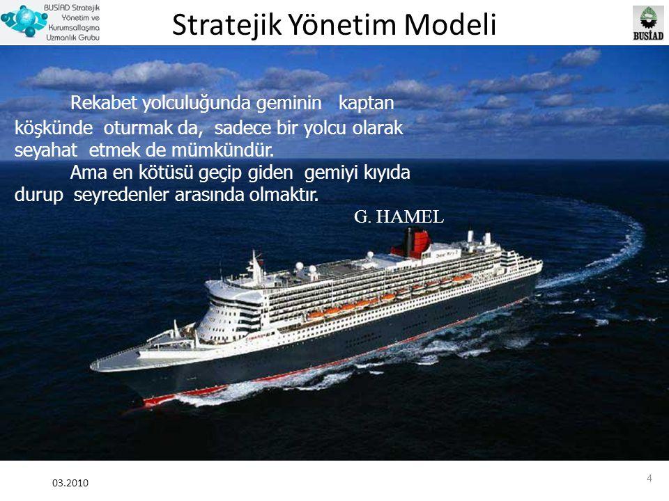 Stratejik Yönetim Modeli 03.2010 4 Rekabet yolculuğunda geminin kaptan köşkünde oturmak da, sadece bir yolcu olarak seyahat etmek de mümkündür. Ama en