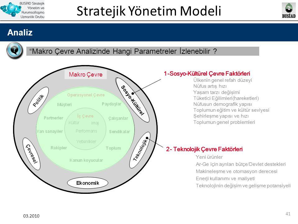 """Stratejik Yönetim Modeli 03.2010 41 Analiz """"Makro Çevre Analizinde Hangi Parametreler İzlenebilir ? Sosyo-Kültürel 1-Sosyo-Kültürel Çevre Faktörleri Ü"""