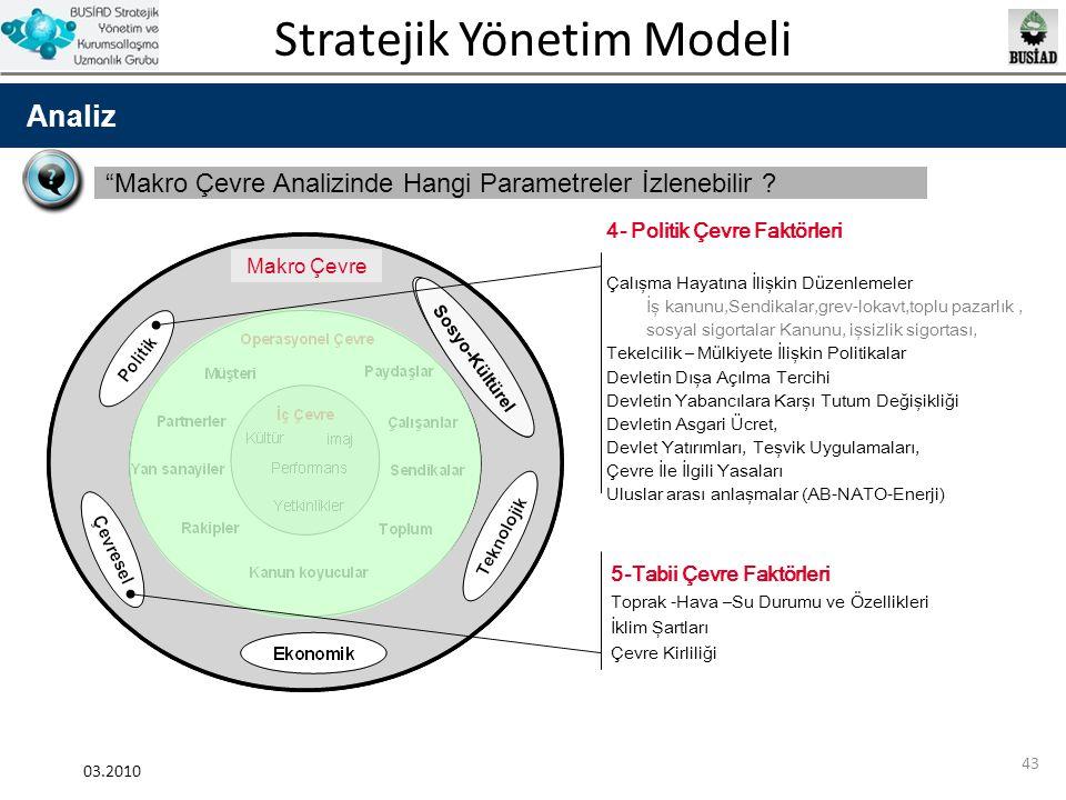 Stratejik Yönetim Modeli 03.2010 43 Analiz Sosyo-Kültürel 4- Politik Çevre Faktörleri Çalışma Hayatına İlişkin Düzenlemeler İş kanunu,Sendikalar,grev-