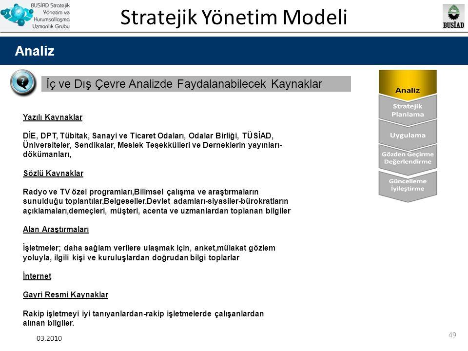 Stratejik Yönetim Modeli 03.2010 49 Analiz İç ve Dış Çevre Analizde Faydalanabilecek Kaynaklar Yazılı Kaynaklar DİE, DPT, Tübitak, Sanayi ve Ticaret O