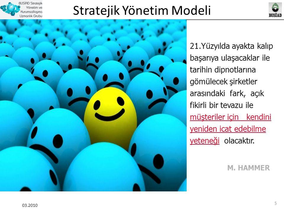 Stratejik Yönetim Modeli 03.2010 16 Stratejik Yönetim Farkındalık Araştırması Analiz Strateji Planlama Uygulama Gözden Geçirme Değerlendirme Güncelleme İyileştirme Önem OranıUygulama Oranı %80%40 %18 %89 %80%18 %80%40 Bu bulguları genel olarak yorumlamak gerektiğinde, KOBİ kategorisindeki işletmelerin stratejik yönetim sisteminin önemi konusunda farkındalık seviyelerinin yüksek olduğu sonucuna ulaşmak mümkündür.
