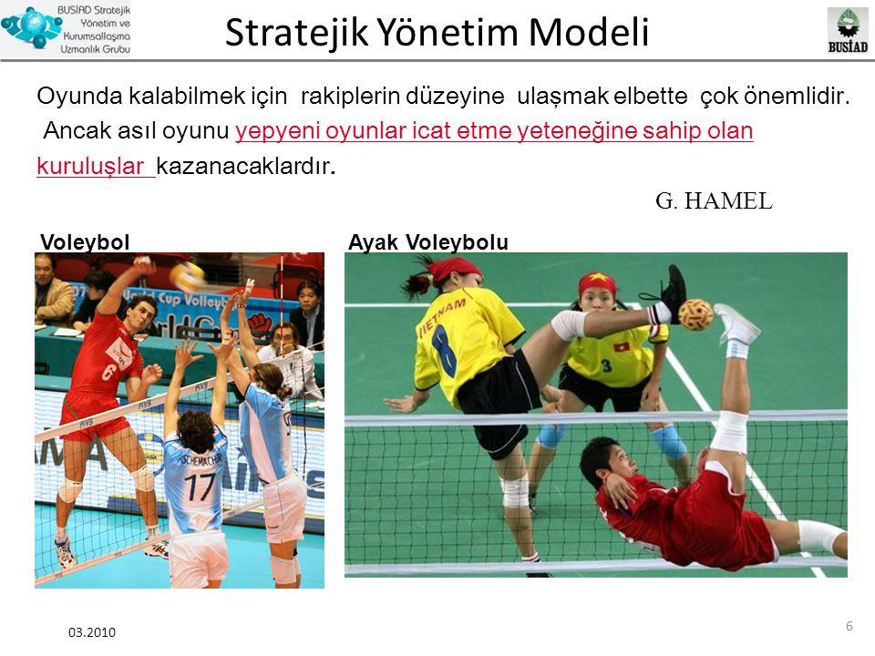 Stratejik Yönetim Modeli 03.2010 57 Stratejik Planlama Gözden Geçirme Değerlendirme Güncelleme İyileştirme Analiz Uygulama