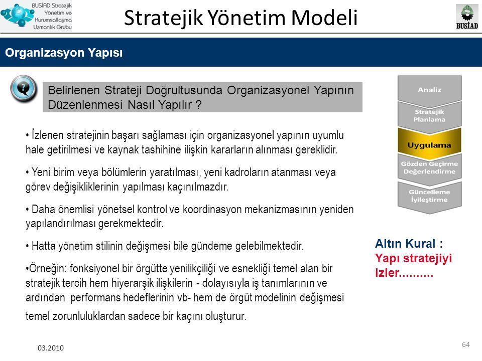 Stratejik Yönetim Modeli 03.2010 64 Organizasyon Yapısı Belirlenen Strateji Doğrultusunda Organizasyonel Yapının Düzenlenmesi Nasıl Yapılır ? İzlenen