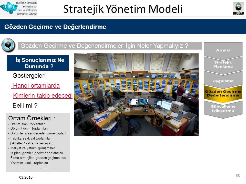 Stratejik Yönetim Modeli 03.2010 68 Gözden Geçirme ve Değerlendirme Gözden Geçirme ve Değerlendirmeler İçin Neler Yapmalıyız ? Göstergeleri - Hangi or