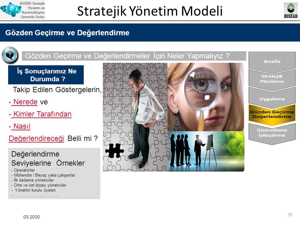 Stratejik Yönetim Modeli 03.2010 70 Gözden Geçirme ve Değerlendirme Gözden Geçirme ve Değerlendirmeler İçin Neler Yapmalıyız ? Takip Edilen Göstergele