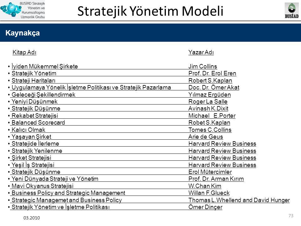 Stratejik Yönetim Modeli 03.2010 73 Kaynakça Kitap AdıYazar Adı İyiden Mükemmel ŞirketeJim Collins Stratejik YönetimProf. Dr. Erol Eren Strateji Harit