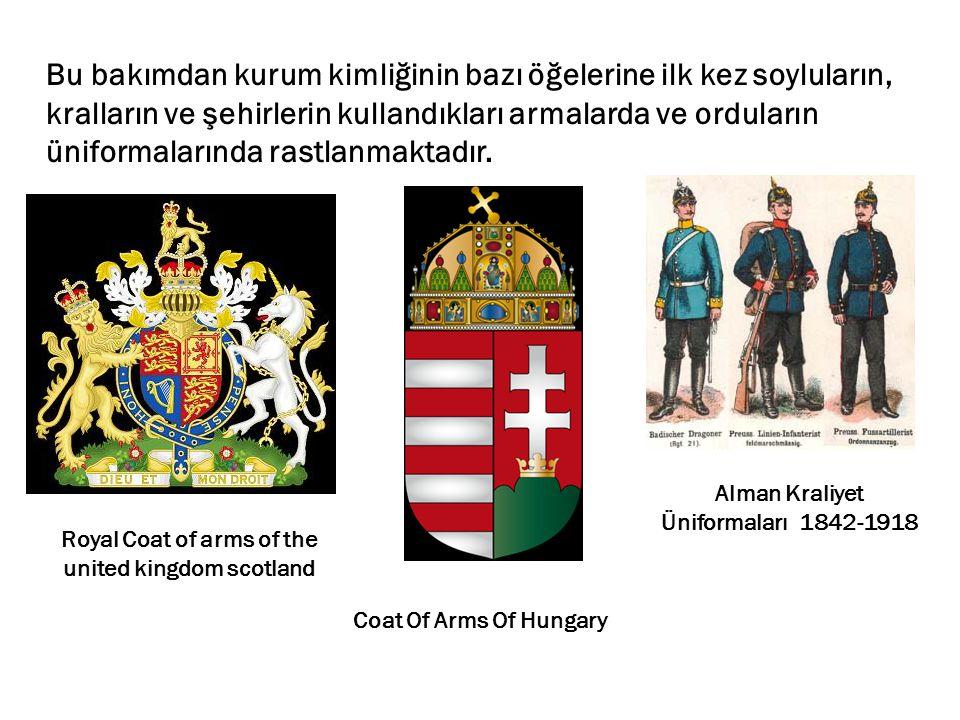 Bu bakımdan kurum kimliğinin bazı öğelerine ilk kez soyluların, kralların ve şehirlerin kullandıkları armalarda ve orduların üniformalarında rastlanma