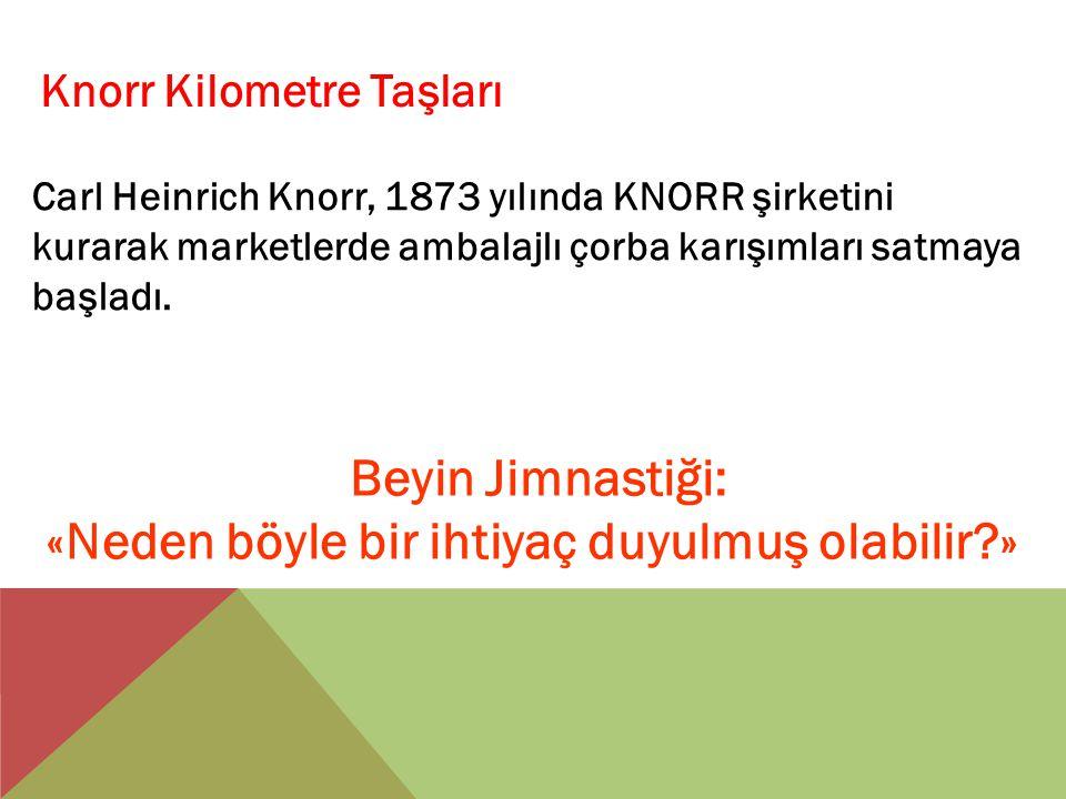 Knorr Kilometre Taşları Carl Heinrich Knorr, 1873 yılında KNORR şirketini kurarak marketlerde ambalajlı çorba karışımları satmaya başladı. Beyin Jimna
