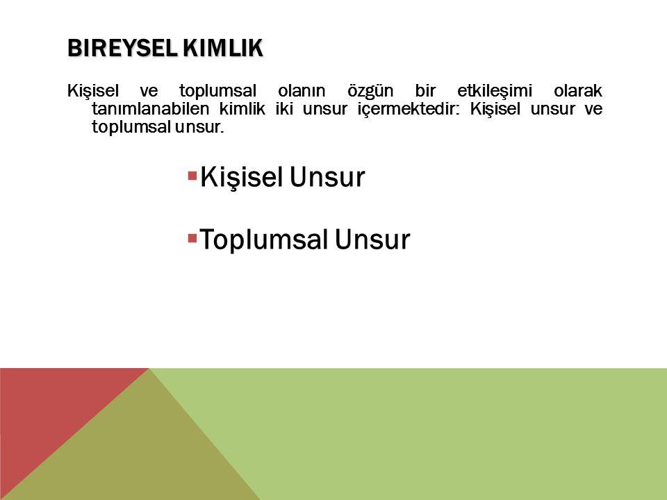 BIREYSEL KIMLIK Kişisel ve toplumsal olanın özgün bir etkileşimi olarak tanımlanabilen kimlik iki unsur içermektedir: Kişisel unsur ve toplumsal unsur