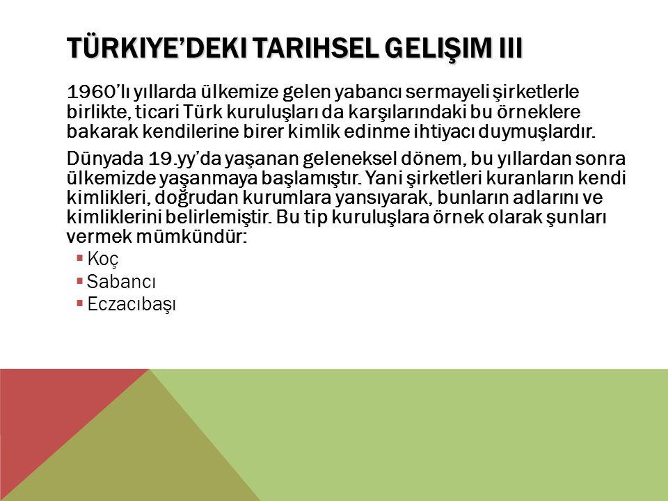 TÜRKIYE'DEKI TARIHSEL GELIŞIM III 1960'lı yıllarda ülkemize gelen yabancı sermayeli şirketlerle birlikte, ticari Türk kuruluşları da karşılarındaki bu