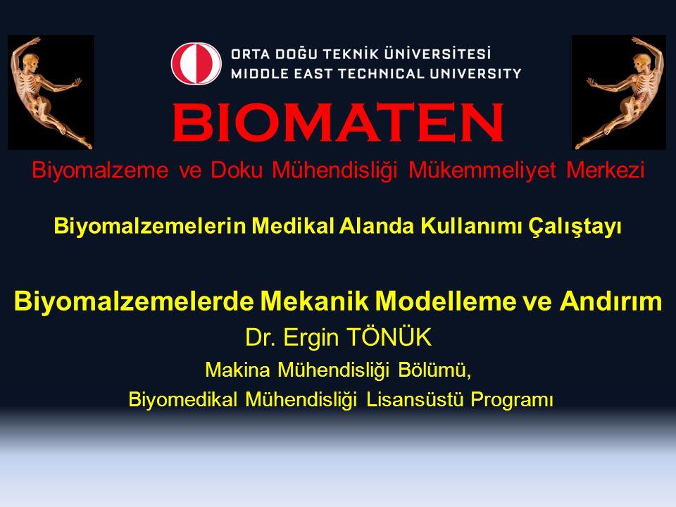 Biyomalzemelerde Mekanik Modelleme ve Andırım Dr. Ergin TÖNÜK Makina Mühendisliği Bölümü, Biyomedikal Mühendisliği Lisansüstü Programı BIOMATEN Biyoma