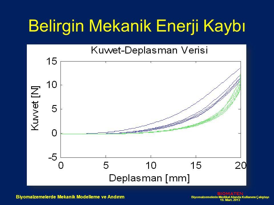 Belirgin Mekanik Enerji Kaybı BIOMATEN Biyomalzemelerin Medikal Alanda Kullanımı Çalıştayı 19. Mart. 2013 Biyomalzemelerde Mekanik Modelleme ve Andırı