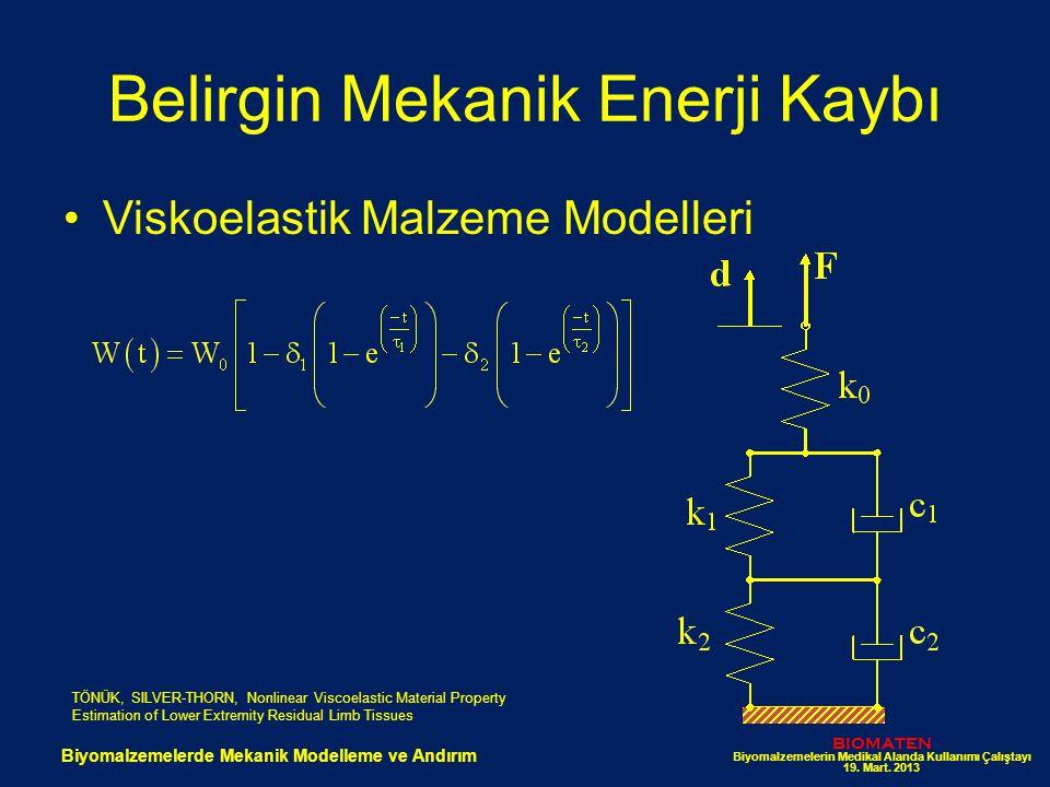 Belirgin Mekanik Enerji Kaybı Viskoelastik Malzeme Modelleri BIOMATEN Biyomalzemelerin Medikal Alanda Kullanımı Çalıştayı 19. Mart. 2013 Biyomalzemele