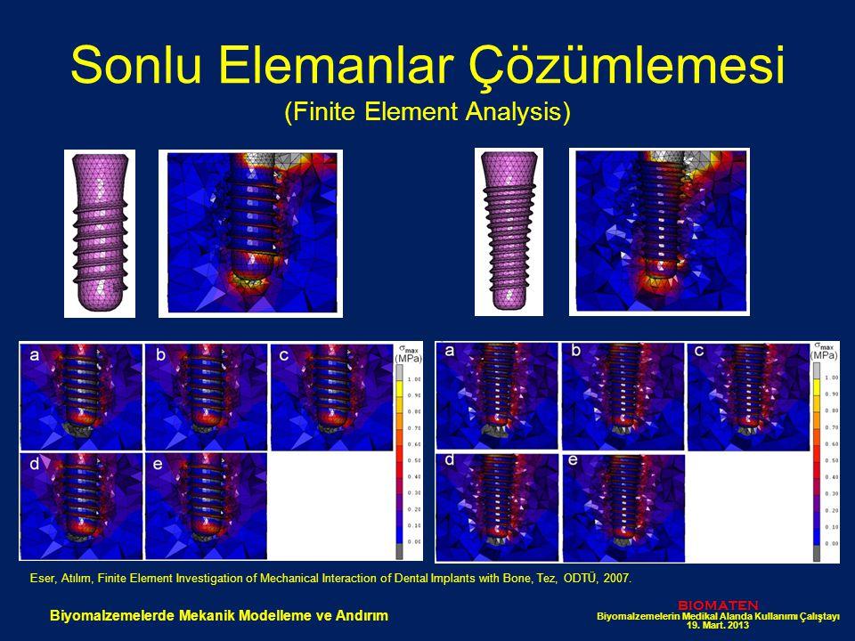 Sonlu Elemanlar Çözümlemesi (Finite Element Analysis) BIOMATEN Biyomalzemelerin Medikal Alanda Kullanımı Çalıştayı 19. Mart. 2013 Biyomalzemelerde Mek