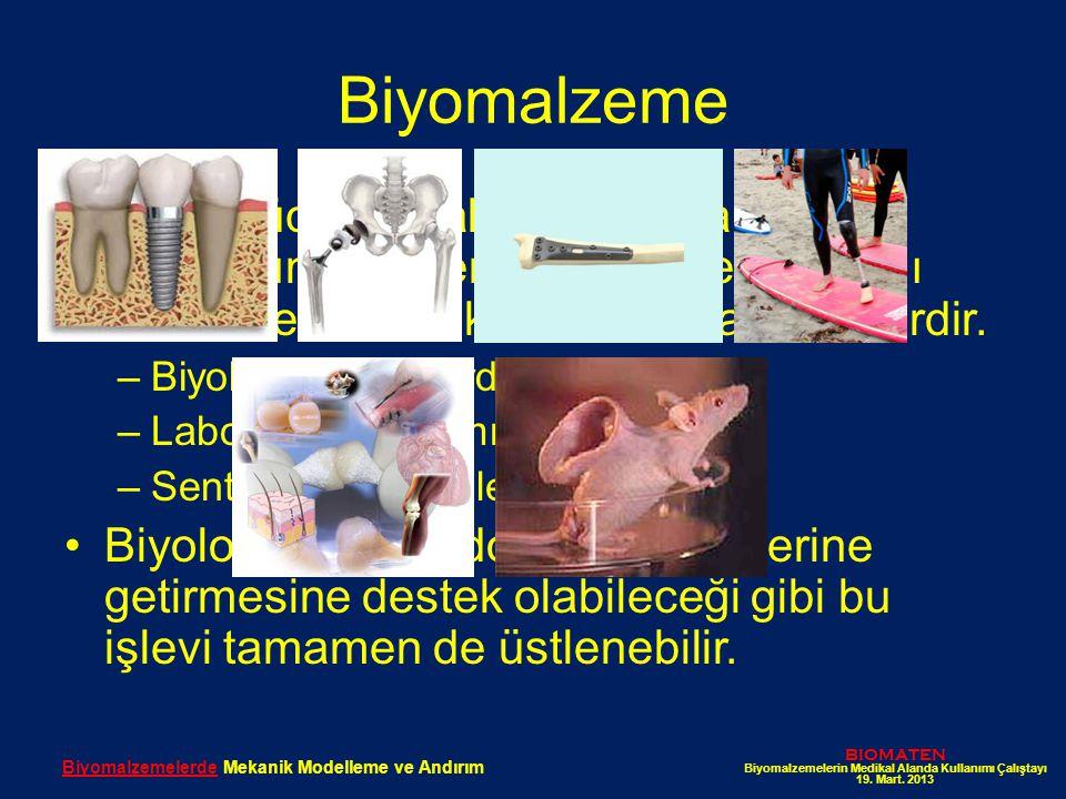 Biyomalzeme İnsan vücudundaki doku hasar ve kayıplarının neden olduğu işlev kaybını düzeltmek üzere kullanılan malzemelerdir. –Biyolojik sistemlerden,