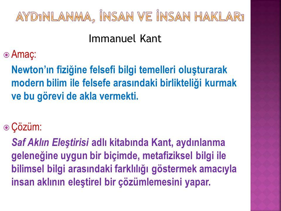 Immanuel Kant  Amaç: Newton'ın fiziğine felsefi bilgi temelleri oluşturarak modern bilim ile felsefe arasındaki birlikteliği kurmak ve bu görevi de a