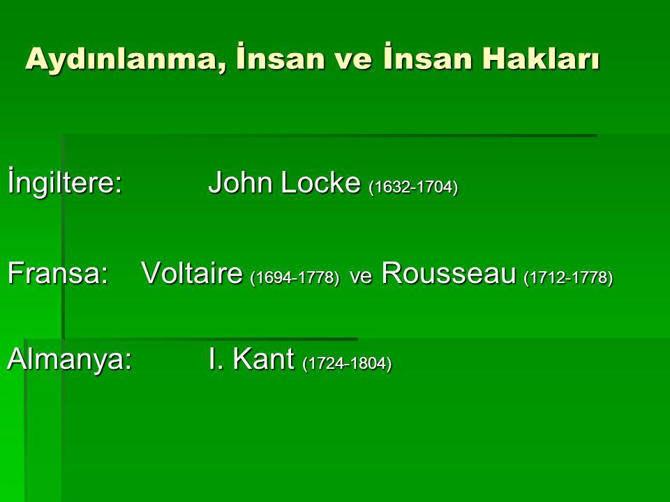 Aydınlanma, İnsan ve İnsan Hakları İngiltere:John Locke (1632-1704) Fransa:Voltaire (1694-1778) ve Rousseau (1712-1778) Almanya:I. Kant (1724-1804)
