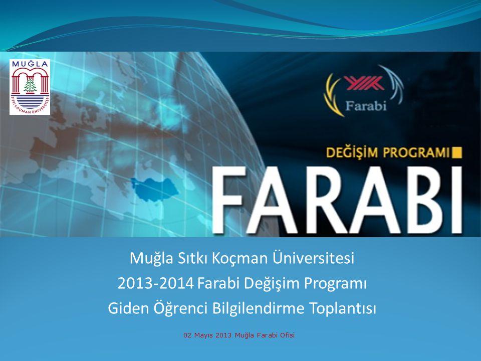 Muğla Sıtkı Koçman Üniversitesi 2013-2014 Farabi Değişim Programı Giden Öğrenci Bilgilendirme Toplantısı 02 Mayıs 2013 Muğla Farabi Ofisi