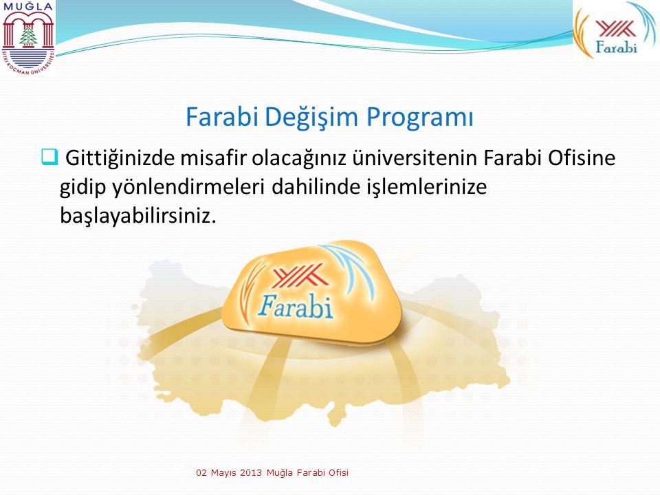 Farabi Değişim Programı  Gittiğinizde misafir olacağınız üniversitenin Farabi Ofisine gidip yönlendirmeleri dahilinde işlemlerinize başlayabilirsiniz