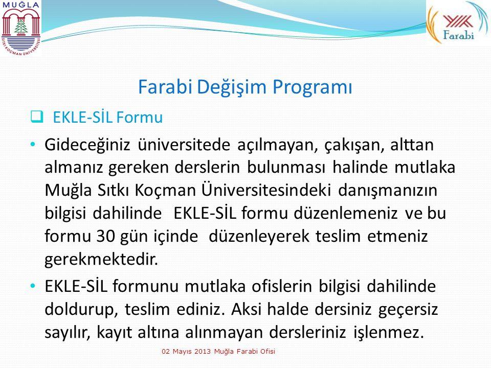 Farabi Değişim Programı  EKLE-SİL Formu Gideceğiniz üniversitede açılmayan, çakışan, alttan almanız gereken derslerin bulunması halinde mutlaka Muğla