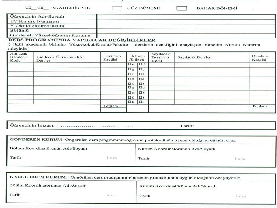 Farabi Değişim Programı Ekle-sil formu 02 Mayıs 2013 Muğla Farabi Ofisi