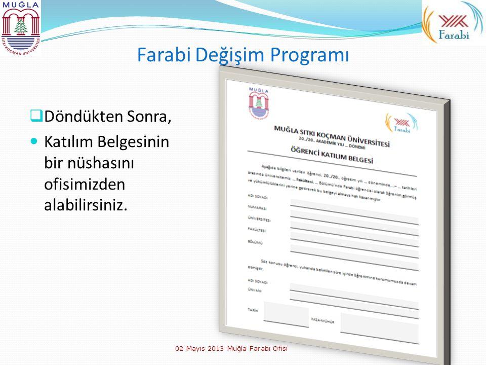Farabi Değişim Programı  Döndükten Sonra, Katılım Belgesinin bir nüshasını ofisimizden alabilirsiniz. 02 Mayıs 2013 Muğla Farabi Ofisi
