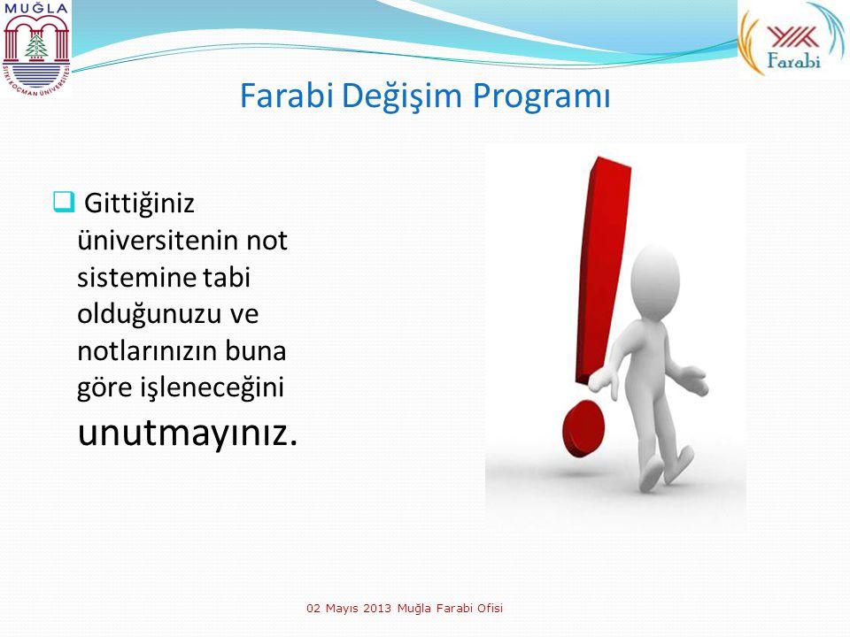 Farabi Değişim Programı  Gittiğiniz üniversitenin not sistemine tabi olduğunuzu ve notlarınızın buna göre işleneceğini unutmayınız. 02 Mayıs 2013 Muğ
