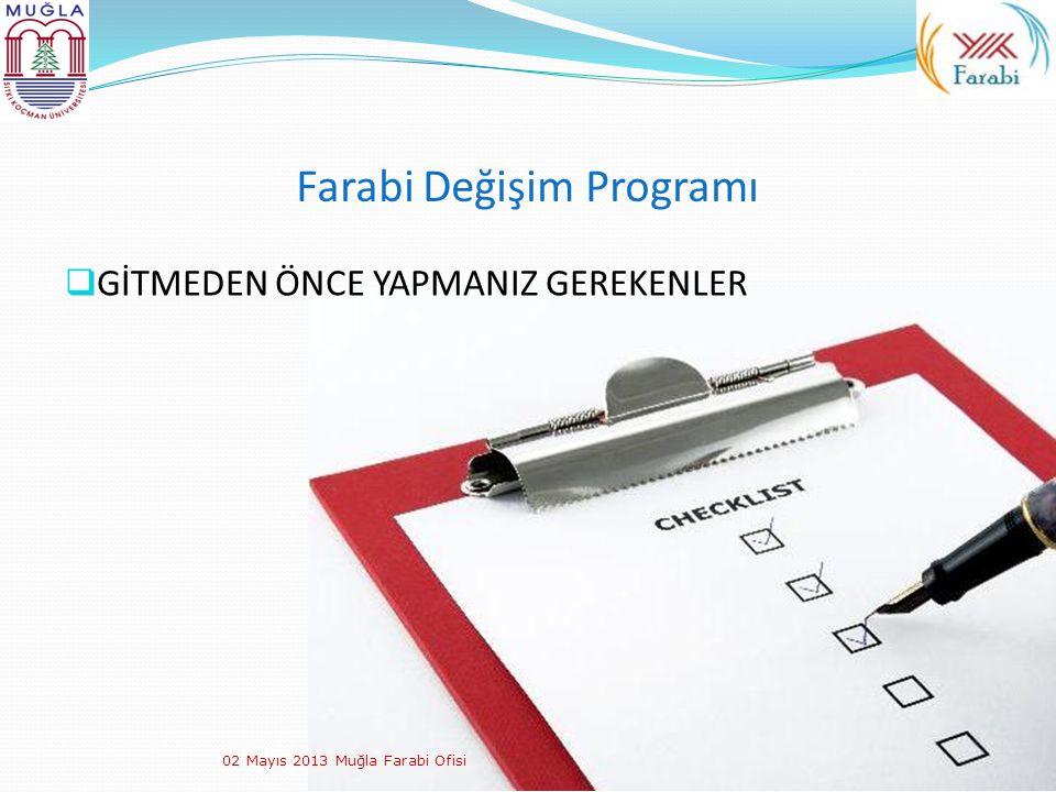 Farabi Değişim Programı  GİTMEDEN ÖNCE YAPMANIZ GEREKENLER 02 Mayıs 2013 Muğla Farabi Ofisi