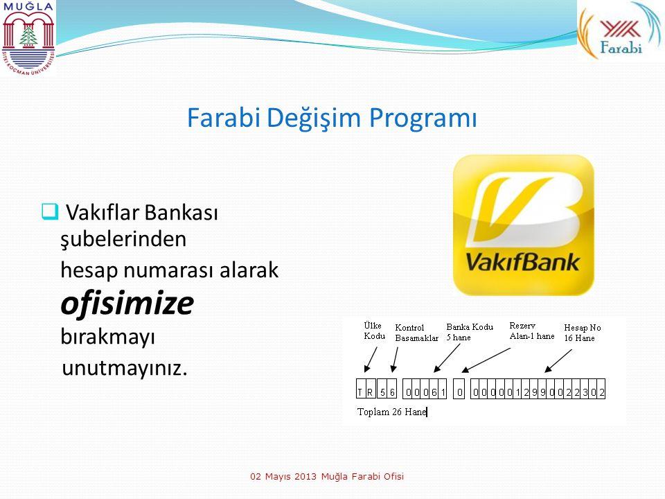 Farabi Değişim Programı  Vakıflar Bankası şubelerinden hesap numarası alarak ofisimize bırakmayı unutmayınız. 02 Mayıs 2013 Muğla Farabi Ofisi