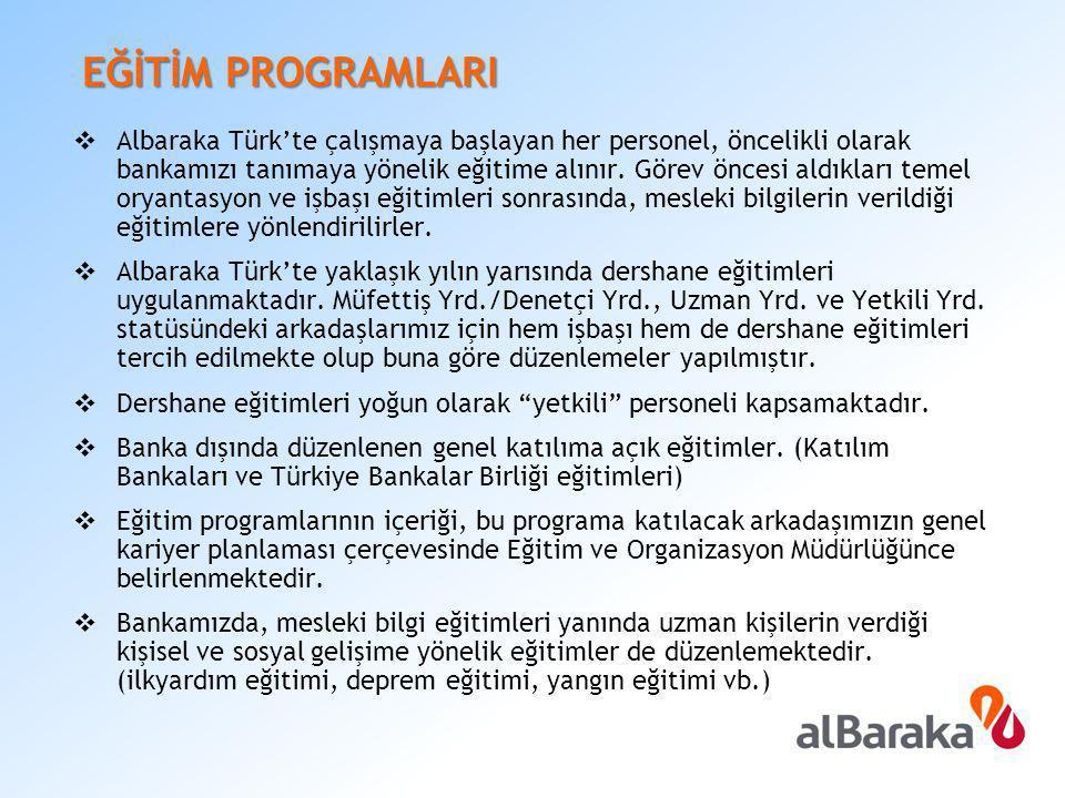 EĞİTİM PROGRAMLARI  Albaraka Türk'te çalışmaya başlayan her personel, öncelikli olarak bankamızı tanımaya yönelik eğitime alınır. Görev öncesi aldıkl