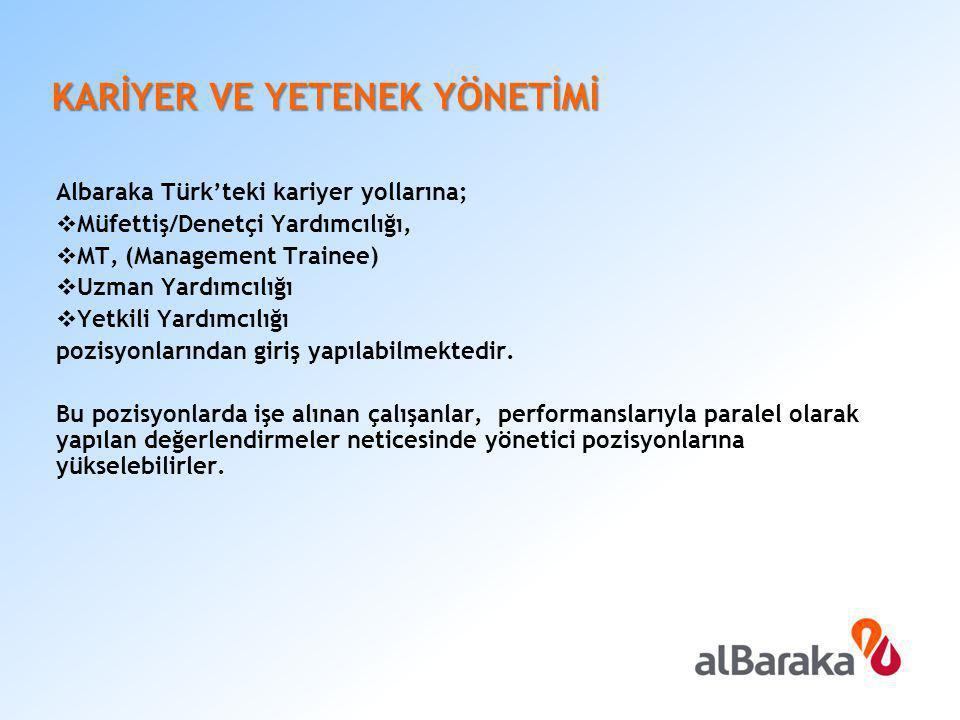 KARİYER VE YETENEK YÖNETİMİ Albaraka Türk'teki kariyer yollarına;  Müfettiş/Denetçi Yardımcılığı,  MT, (Management Trainee)  Uzman Yardımcılığı  Y