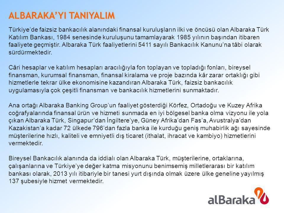 ALBARAKA'YI TANIYALIM Türkiye'de faizsiz bankacılık alanındaki finansal kuruluşların ilki ve öncüsü olan Albaraka Türk Katılım Bankası, 1984 senesinde