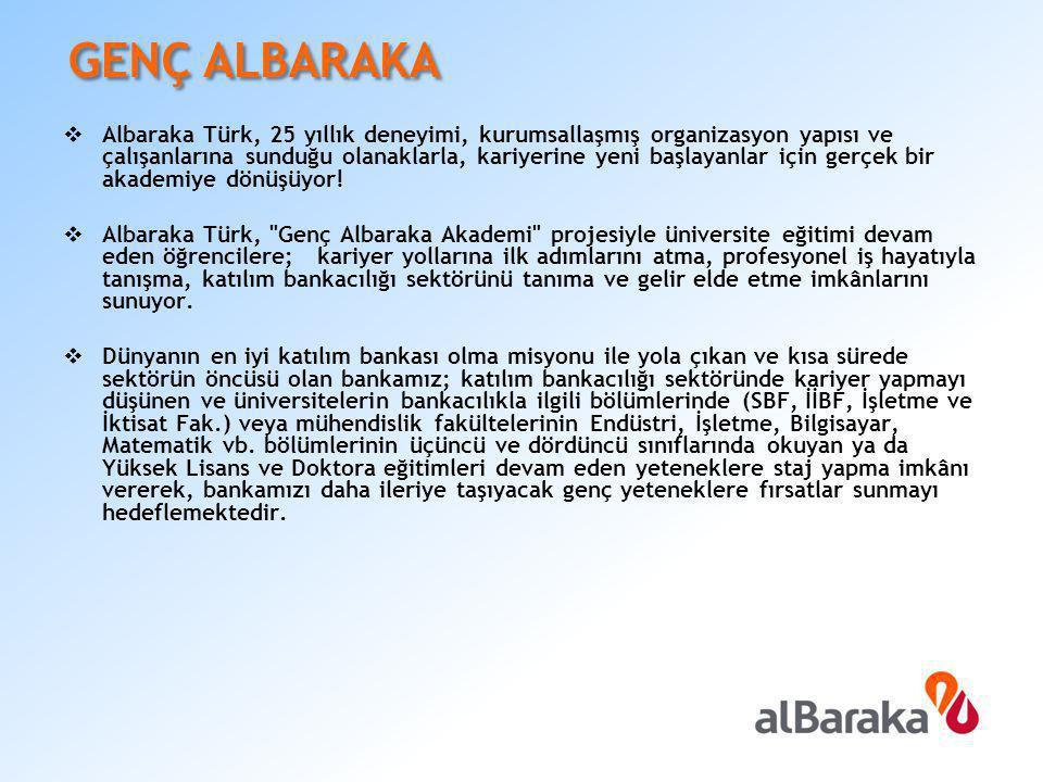  Albaraka Türk, 25 yıllık deneyimi, kurumsallaşmış organizasyon yapısı ve çalışanlarına sunduğu olanaklarla, kariyerine yeni başlayanlar için gerçek