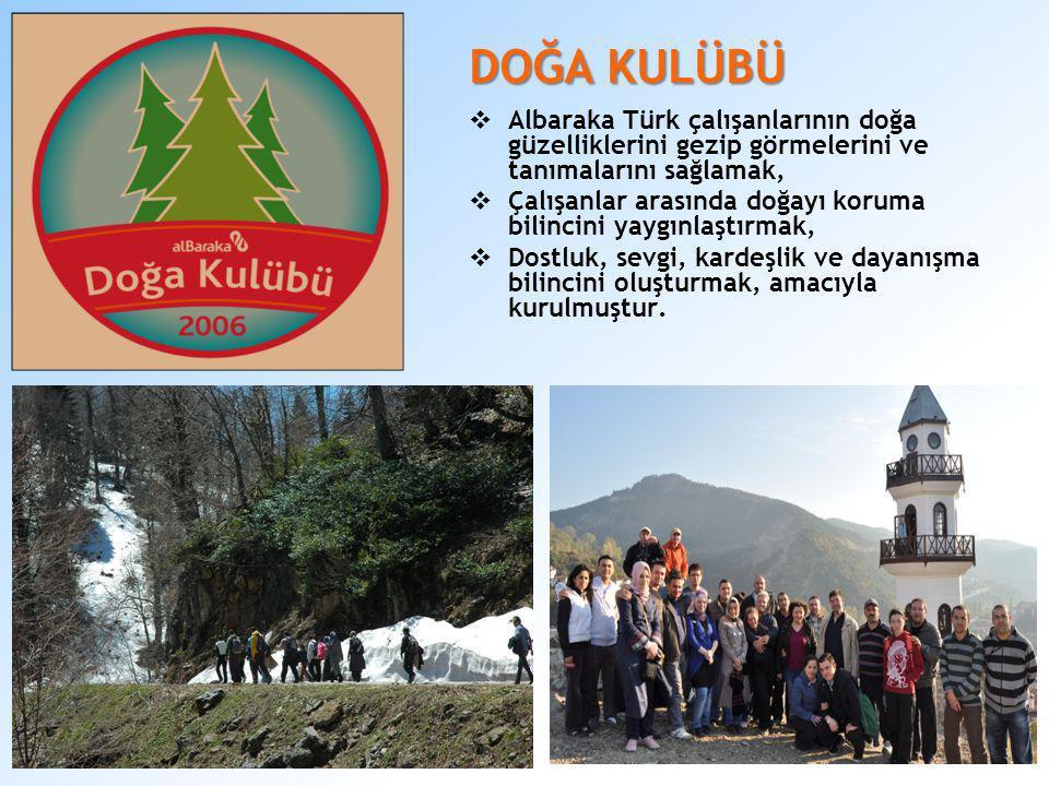 DOĞA KULÜBÜ  Albaraka Türk çalışanlarının doğa güzelliklerini gezip görmelerini ve tanımalarını sağlamak,  Çalışanlar arasında doğayı koruma bilinci
